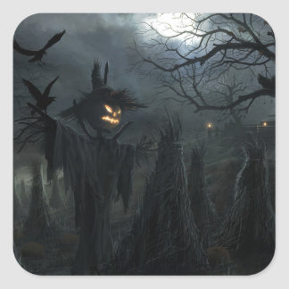 Halloween-Feld des Todes Quadrat-Aufkleber