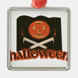 Halloween-Flagge Quadratisches Silberfarbenes Ornament