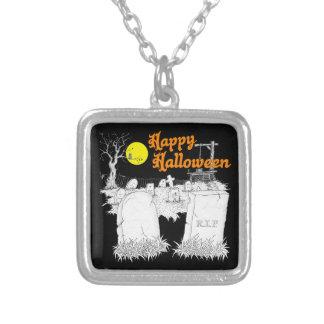 Halloween-Friedhof Versilberte Kette