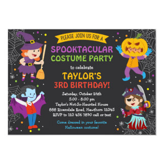 Halloween-Geburtstags-Einladung, Kostüm-Party, Karte