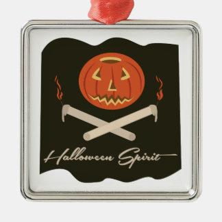 Halloween-Geist-Flagge Quadratisches Silberfarbenes Ornament