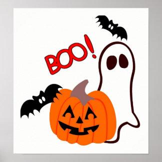 Halloween-Geist mit Kürbis Poster