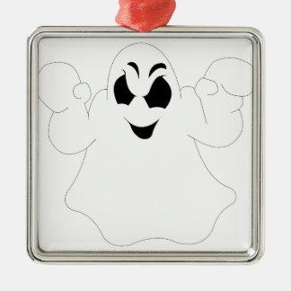 Halloween-Geist Quadratisches Silberfarbenes Ornament