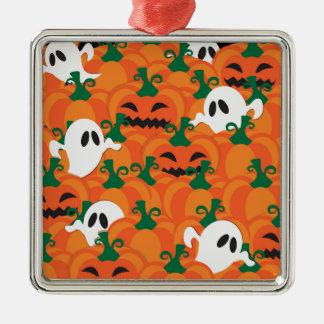 Halloween-Geist-Spuk Kürbis-Flecken Quadratisches Silberfarbenes Ornament