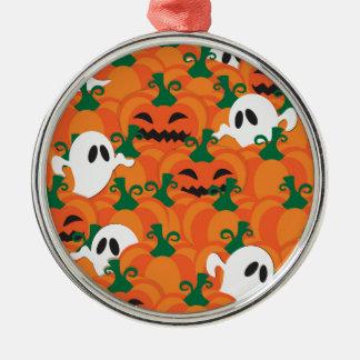 Halloween-Geist-Spuk Kürbis-Flecken Rundes Silberfarbenes Ornament