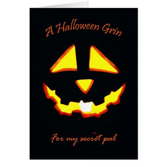 Halloween-Grinsen für geheimen Kumpel Grußkarte