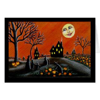 Halloween, Gruß, Karte, Hexen, Kürbislaterne Karte