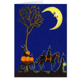Halloween, Gruß, Karte, Hexen, Mond, Kürbise Karte