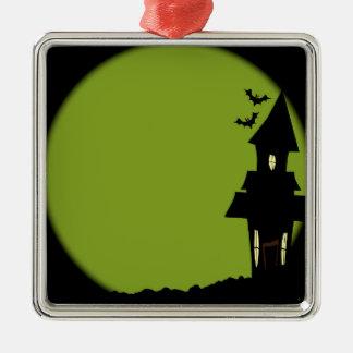 Halloween-Haus Quadratisches Silberfarbenes Ornament