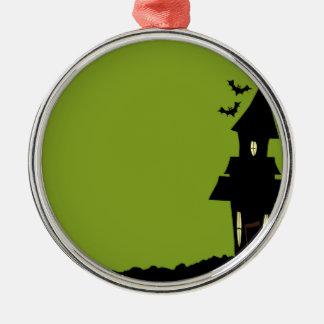 Halloween-Haus Rundes Silberfarbenes Ornament