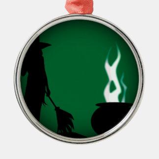 Halloween-Hexe-Hintergrund Rundes Silberfarbenes Ornament