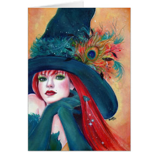 Halloween-Hexe mit Federkarte durch Renee Lavoie Grußkarte