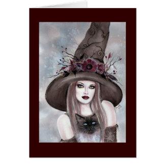 Halloween-Hexe mit Miezekatzekarte durch Renee Grußkarte