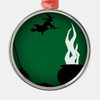 Halloween-Hexe-Plakat-Hintergrund Rundes Silberfarbenes Ornament