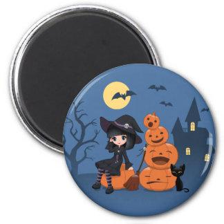 Halloween-Hexe, schwarze Katze und Kürbise Runder Magnet 5,7 Cm