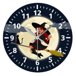 Halloween-Hexe-Uhr Große Wanduhr