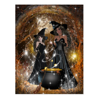 Halloween-Hexen im Schwarzen Postkarte