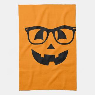 Halloween-Hipster-Kürbis-Muster Geschirrtuch