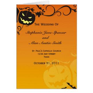 Halloween-Hochzeits-Programm Grußkarte