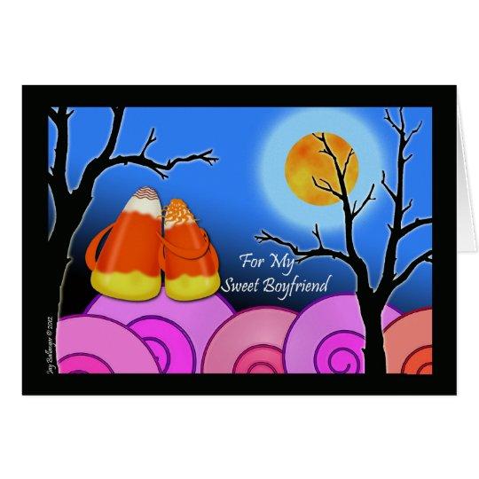 Halloween-Karte für Freund, Süßigkeits-Mais-Paar Grußkarte