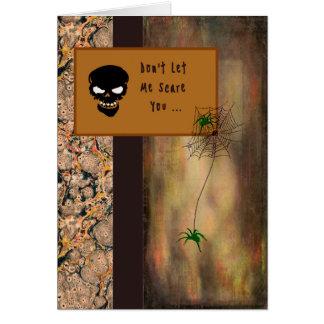 Halloween-Karte mit einem Skelett und Spinnen Karte