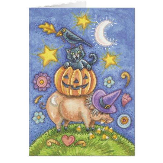 Halloween-Karte, Schwein, schwarze Katze, Kürbis, Grußkarte