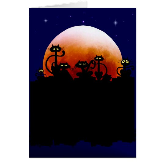 Halloween-Kätzchen und Halloween-Mond-Karte Grußkarte