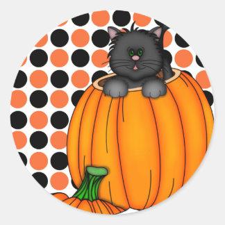 Halloween-Katzen-T - Shirts und Geschenke Runder Aufkleber