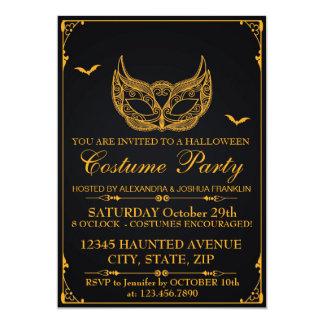 Halloween-Kostüm-Party-Gold 12,7 X 17,8 Cm Einladungskarte