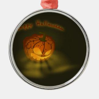Halloween-Kürbis-gespenstische Atmosphäre Rundes Silberfarbenes Ornament