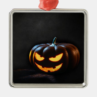 Halloween-Kürbis-Kürbislaterne gespenstisch Quadratisches Silberfarbenes Ornament