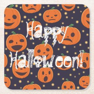 Halloween-Kürbis-Muster-Kürbislaterne festlich Rechteckiger Pappuntersetzer