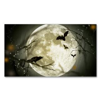 Halloween-Mond-gespenstische Krähen Visitenkartenmagnet