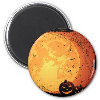 Halloween-Mond, Spinnennetze, Schläger, Kürbise Runder Magnet 5,7 Cm