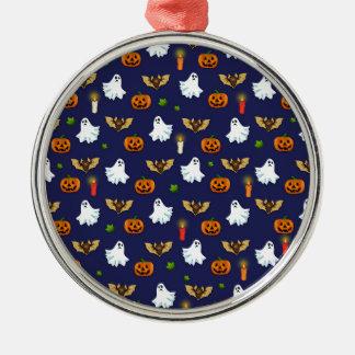 Halloween-Muster Rundes Silberfarbenes Ornament