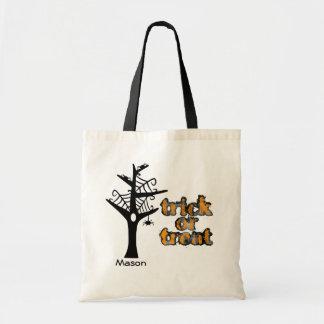 Halloween-Netz-Baum-personalisierte Taschen-Tasche Budget Stoffbeutel
