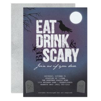 Halloween-Party - essen Sie Getränk u. seien Sie 12,7 X 17,8 Cm Einladungskarte