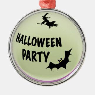Halloween-Party-Ikone Rundes Silberfarbenes Ornament