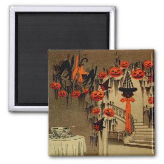 Halloween-Party-Kürbislaterne-Kürbis-schwarze Quadratischer Magnet
