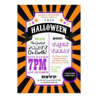 Halloween-Party-schwarzer und orange Karneval 12,7 X 17,8 Cm Einladungskarte