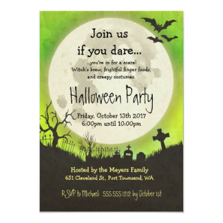 Halloween-Partyeinladung im Grün mit Mond Karte