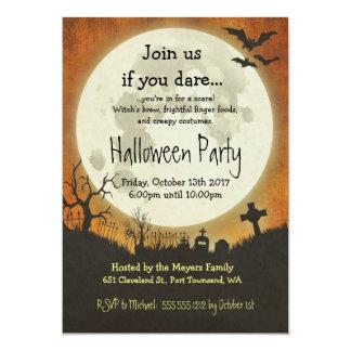 Halloween-Partyeinladung in der Orange mit Mond Karte