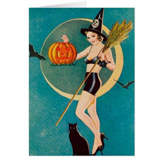 Halloween-Pin-up-Girl-Hexe Grußkarte