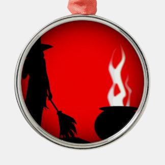 Halloween-Plakat-Hintergrund Rundes Silberfarbenes Ornament