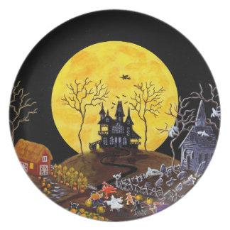 Halloween, Platte, Geister, Spuk, Haus, Hexe Melaminteller