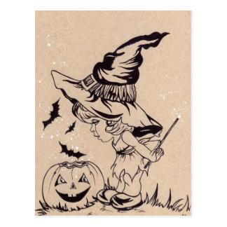 Halloween-Postkarte Hexe der Zaubertricks kleine Postkarte