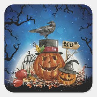 Halloween-Raben-Kürbis-Party Quadratischer Aufkleber