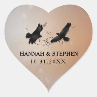 Halloween-Raben mit Herzen Wedding Herz Herz-Aufkleber