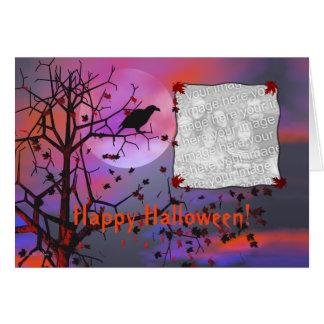 Halloween-Raben-Nacht (Fotorahmen) Karte
