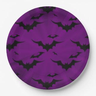 Halloween-Schläger auf lila Hintergrund Pappteller